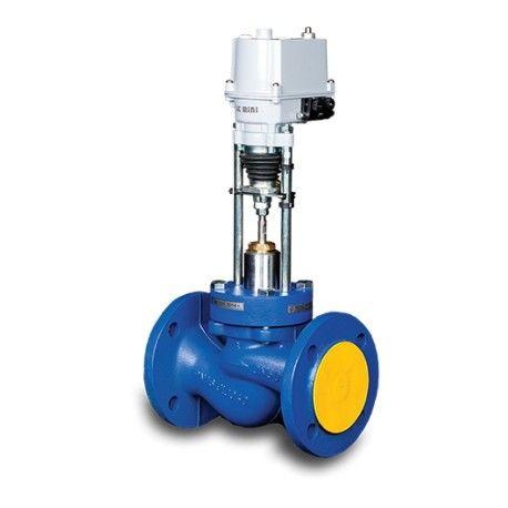 Седельный клапан Теплосила TRV двухходовой фланцевый ду 40 TRV-40-X2-101-25 с электроприводом TSL-1600-25-1-230-IP67