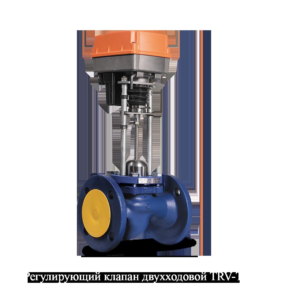 Седельный клапан Теплосила TRV-Т двухходовой фланцевый ду 100 TRV-T-100-X2-35-25 с электроприводом Катрабел 230В