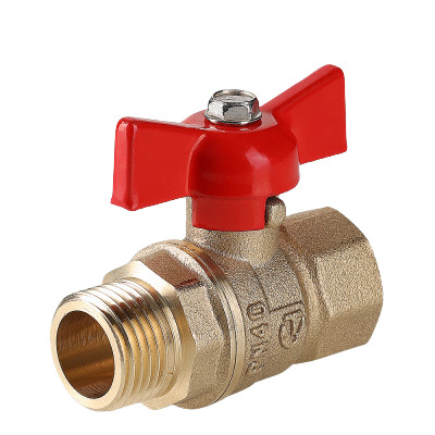 Кран шаровой Valtec «Стандарт» VT.123.GN 1/2″ ду 15 ВР/НР латунный VT.123.GN.04 PN40 с ручкой бабочкой